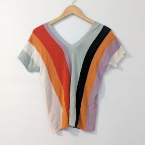 Etro Knit Colorblock Cashmere Short Sleeve Shirt